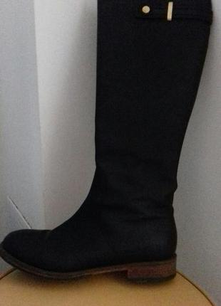 Сапоги демисезонные кожаные италия, 38 размер, черные
