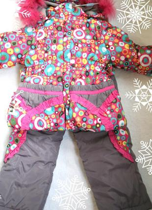 Зимняя куртка комбинезон на девочку 98см