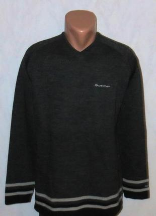 Серый теплый свитер с шерстью от quechua размер: 56-xxl, 3xl