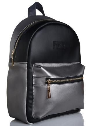 Красивый модный женский рюкзак чёрный с серебром