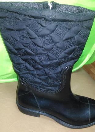 Утепленные резиновые сапоги 36-40 р. женские, ботинки, непромокаемые, зимние, деми, флисе