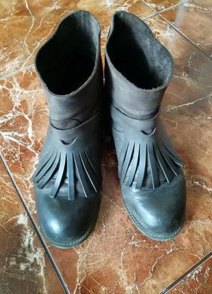 Ботинки кожаные, темно-коричневые