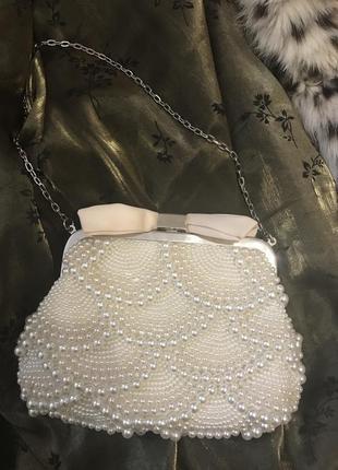 Jemy packham сумка клатч свадебний вечерний аксесуар жемчуг