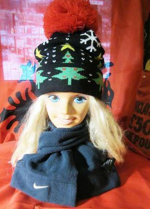 Теплая двойная  шапка  зимний принт