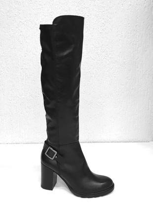 Женские кожаные высокие сапоги со стрейчевым голенищем, италия