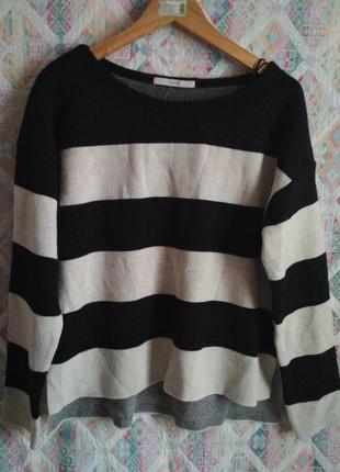 Асимметричный свитер в полоску оверсайз l, xl, xxl