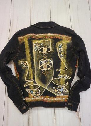 Джинсовая куртка с росписью и стразами mexx, m-l