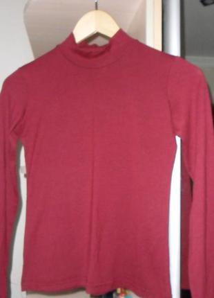 Бордовый  гольфик,водолазочка,свитерок,р.46..