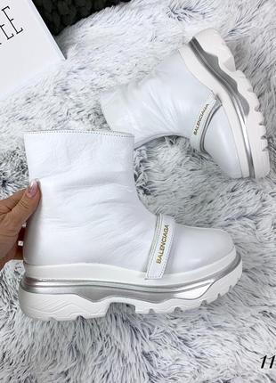 Кожаные зимние ботинки флэтформы на толстой подошве в стиле balenciaga. 36-40