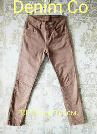 10-11лет/146 см бежевые джинсы скинни с классической талией denim co