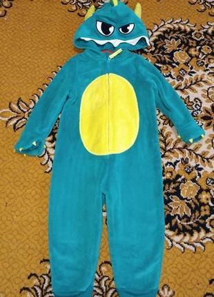 Теплый махровый человечек ромпер слип пижама 2-3 г 98 см