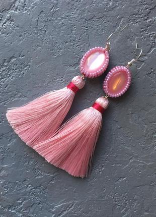 Серьги кисточки. розовые сережки. серьги ручная работа