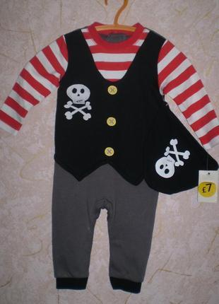Комплект для малыша человечек и шапочка 6-9 мес,68-74 см
