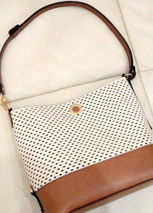 Женская сумка parfois на плечо бежево коричневый цвет