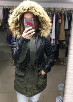 -25% на все! тёплая демисезонная парка с кожаными вставками, капюшон, мех, куртка америка