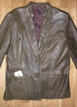 Кожаный жакет пиджак демисезонная куртка курточка кожанка косуха echtes leder кожаная
