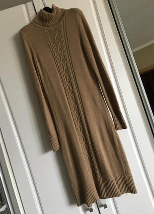 Роскошное тёплое платье с горлом, шерсть и кашемир в составе, верблюжий цвет camal