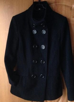 Пальто укорочённое черное шерсть