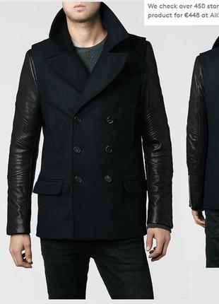 Allsaints all saints tokachi pea coat байк пальто с кожаными рукавами мужское олсейнтс м