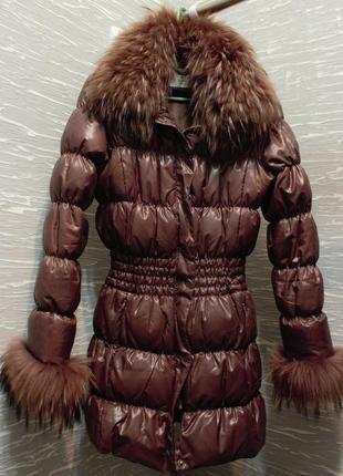 Куртка пуховик с мехом енота/junker