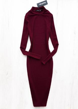 Базова сукня-гольф довжини міді \ базовое платье гольф миди марсала бургунди boohoo