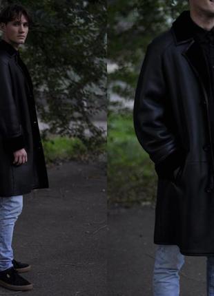 Дубленка мужская черная куртка пальто