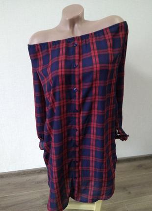 Платье туника блуза блузка рубашка голые плечи в клетку хит тренд размер 16