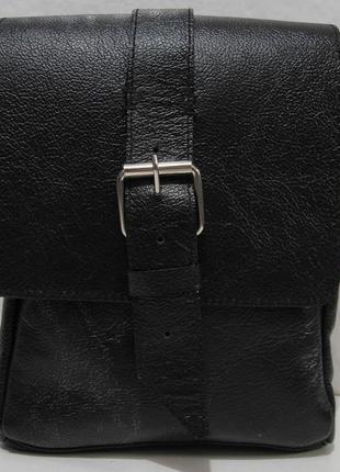 Мужская кожаная сумка hand made (чёрная) 18-10-045