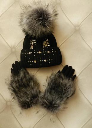 Набор перчатки и шапочка зима в стразах и камнях с эко мехом чернобурка