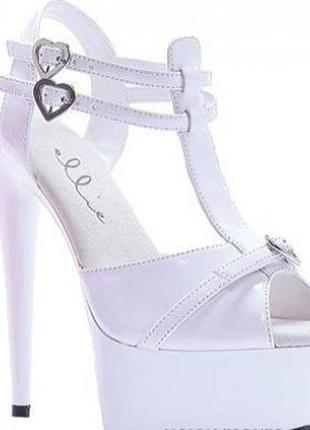 Белые туфли босоножки для стрипа и пул-денс на высоком каблуке и платформе шпилька