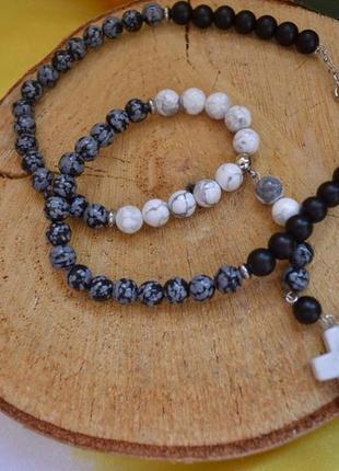 Розарий (бусы-четки) из шунгита, магнезита и обсидиана с крестом ′уран′