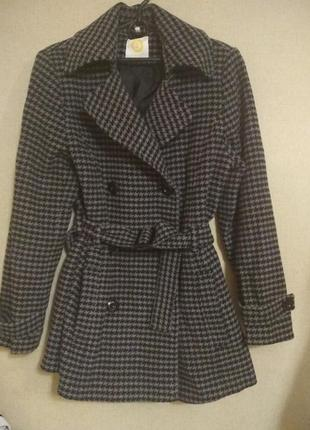 Теплое пальто в принт гусиная лапка