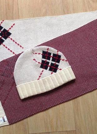 """Оригинальный комплект с ромбами """"colins"""" трикотажный - шапка и шарф"""