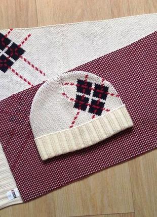 """Оригинальный комплект с ромбами """"colins"""" трикотажный - шапка и шарф4 фото"""