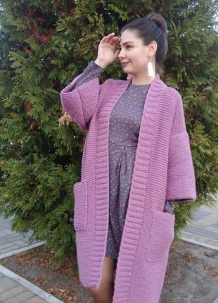Вязаный женский объёмный длинный кардиган пальто кофта oversize с карманами