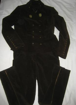 Шикарный бархатный брючный костюм, италия, состояние нового, л-хл