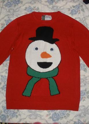 Оригинальный новогодний джемпер merry christmas снеговик
