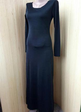 Чёрное длинное трикотажное платье со шнуровкой на спине s/m2