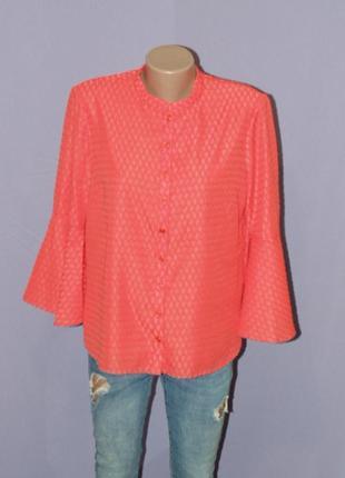 Коралловая блузочка с расклешенными рукавами