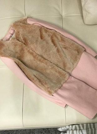 Светло-розовое шерстяное с мехом пальто от zara, s-m скидка 5 дней!!