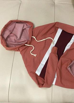 Новый грязно-розовый пудровый худи (кофта, толстовка, реглан, батник, балахон), xs-s