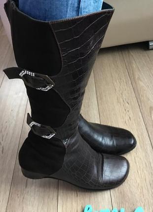 Распродажа мегаудобные зимние кожаные сапоги на овчине бренд италия