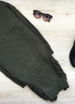 Крутой длинный рваный свитер/джемпер прямого покроя
