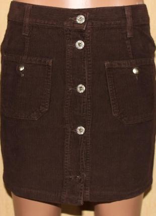Юбка прямая вельвет коричневый на пуговицах,карманы, италия s/м + подарок