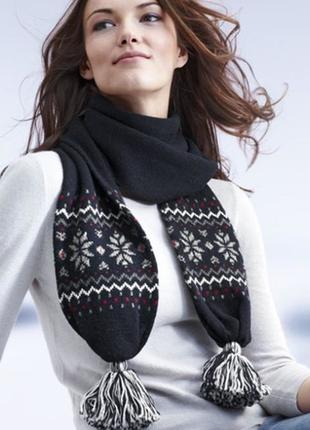Теплый шарф с шерстью tcm tchibo германия
