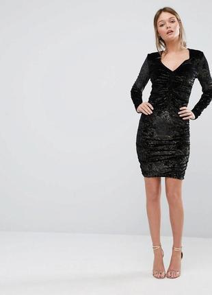 Коктельное вечернее нарядное велюровое платье 8 размер