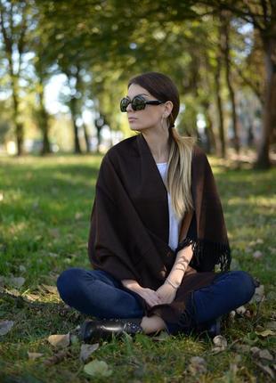 Шарф женский 150*60 см темно-коричневый2