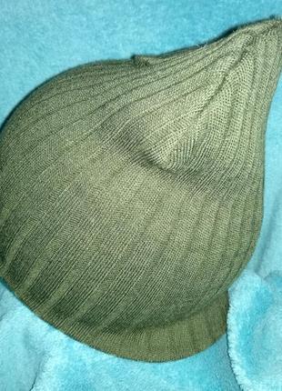 Новая шапка бини вязаная рубчик хаки