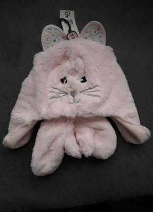 Шапка с варежками рукавицы теплая котик 1-3 года