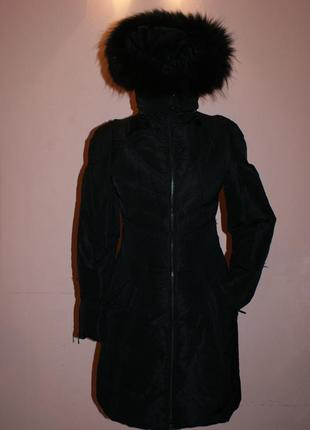 Пуховое пальто, пуховик, натуральное пух с натуральным мехом по типу zara